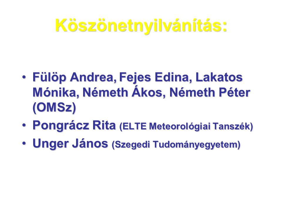 Köszönetnyilvánítás: •Fülöp Andrea, Fejes Edina, Lakatos Mónika, Németh Ákos, Németh Péter (OMSz) •Pongrácz Rita (ELTE Meteorológiai Tanszék) •Unger János (Szegedi Tudományegyetem)