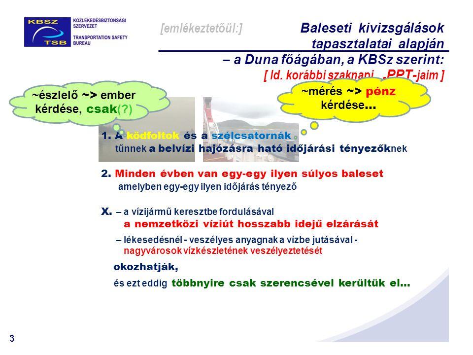 3 Σ: 1. A ködfoltok és a szélcsatornák tűnnek a belvízi hajózásra ható időjárási tényezők nek 2. Minden évben van egy-egy ilyen súlyos baleset amelybe