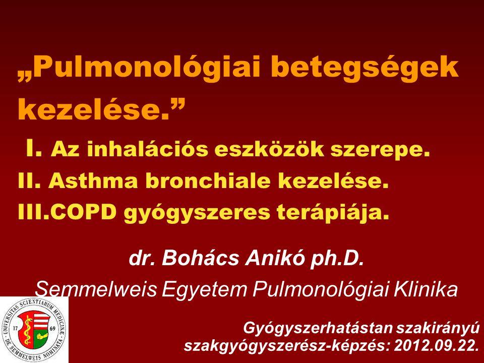 Az asztma klinikai kontrollja besorolási mutatók KONTROLLÁLT (alábbiak mindegyike fennáll) RÉSZBEN KONTROLLÁLT (bármely jellemző jelenléte) NEM KONTROLLÁLT nappali tüneteknincsenek (≤ heti 2x)> heti 2x A részben kontrollált asztma legalább 3 jellemzőjének fennállása bármely héten fizikai aktivitás korlátozottság nincsbármilyen mértékű éjszakai tünetek/felébredés nincsenek bármilyen gyakorisággal rohamoldó használat nincsenek (≤ heti 2x)> heti 2x tüdőfunkció (PEF v FEV 1 ) normál az elvárt érték, vagy az egyéni legjobb (ha ismert)<80%-a Az asztmás exacerbáció jelenléte kimeríti a nem kontrollált asztma fogalmát.