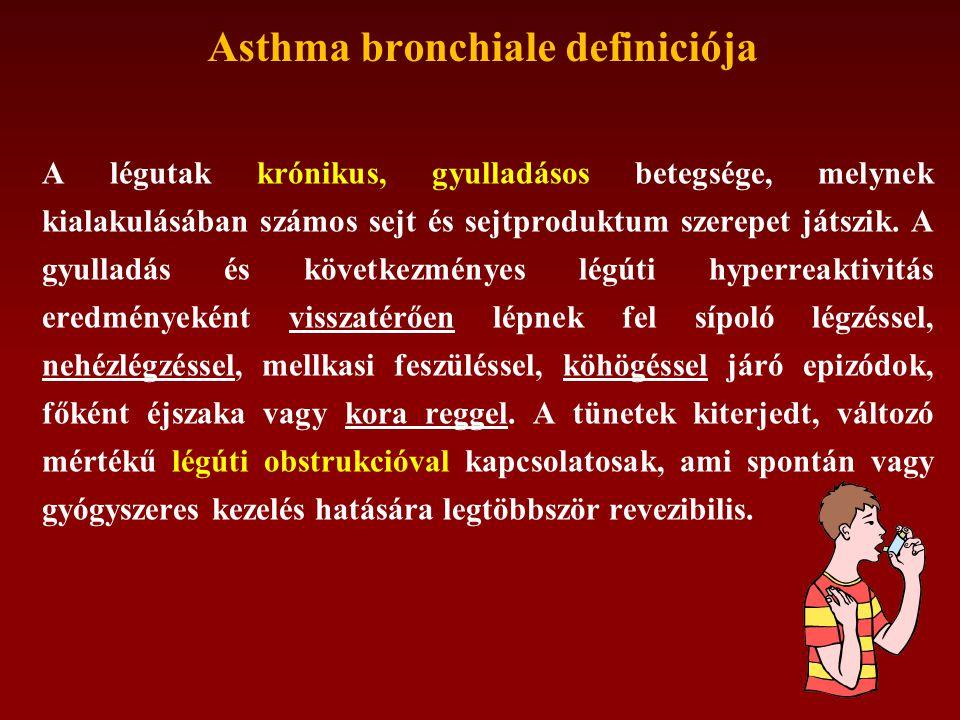 Asthma bronchiale definiciója A légutak krónikus, gyulladásos betegsége, melynek kialakulásában számos sejt és sejtproduktum szerepet játszik.
