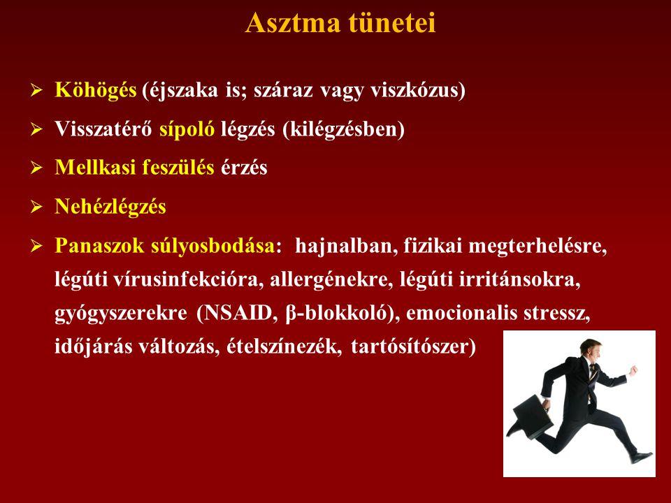 Asztma tünetei  Köhögés (éjszaka is; száraz vagy viszkózus)  Visszatérő sípoló légzés (kilégzésben)  Mellkasi feszülés érzés  Nehézlégzés  Panaszok súlyosbodása: hajnalban, fizikai megterhelésre, légúti vírusinfekcióra, allergénekre, légúti irritánsokra, gyógyszerekre (NSAID, β-blokkoló), emocionalis stressz, időjárás változás, ételszínezék, tartósítószer)