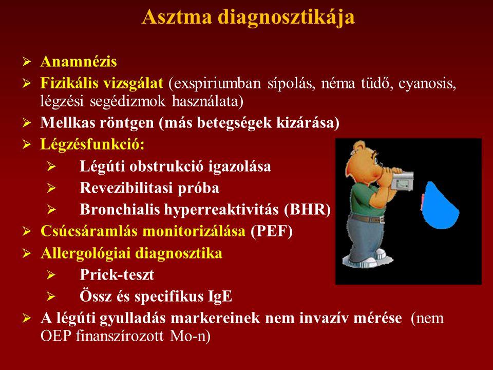 Asztma diagnosztikája  Anamnézis  Fizikális vizsgálat (exspiriumban sípolás, néma tüdő, cyanosis, légzési segédizmok használata)  Mellkas röntgen (más betegségek kizárása)  Légzésfunkció:  Légúti obstrukció igazolása  Revezibilitasi próba  Bronchialis hyperreaktivitás (BHR)  Csúcsáramlás monitorizálása (PEF)  Allergológiai diagnosztika  Prick-teszt  Össz és specifikus IgE  A légúti gyulladás markereinek nem invazív mérése (nem OEP finanszírozott Mo-n)