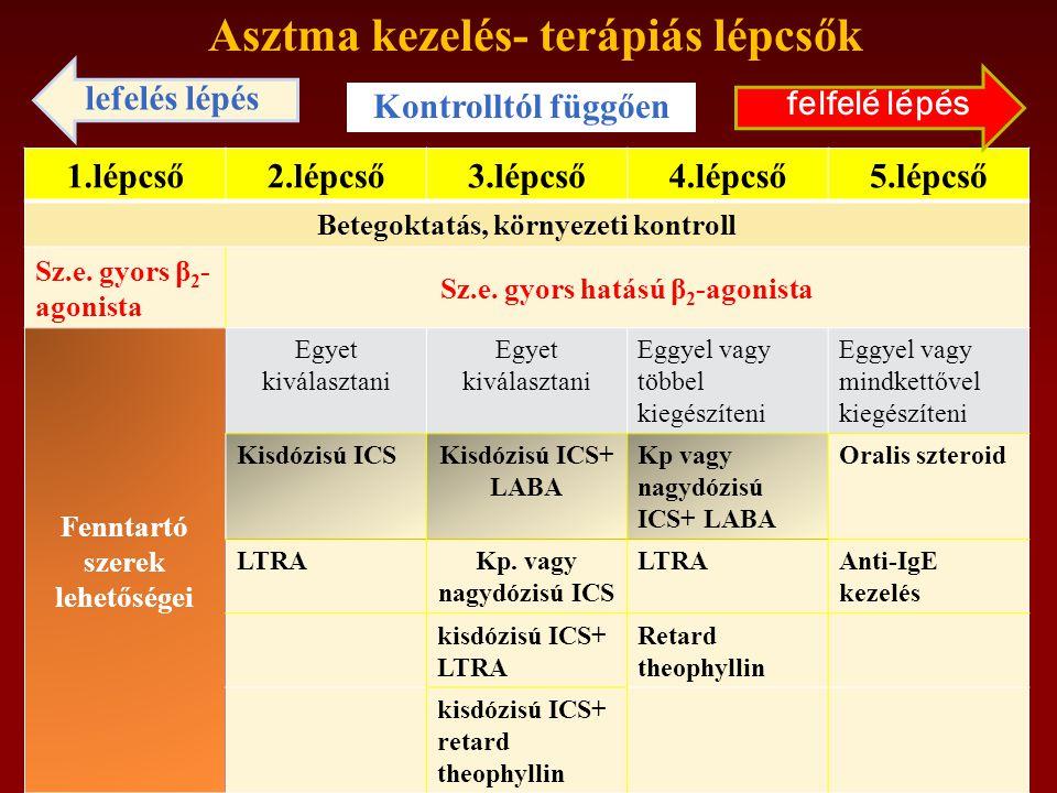 Asztma kezelés- terápiás lépcsők 1.lépcső2.lépcső3.lépcső4.lépcső5.lépcső Betegoktatás, környezeti kontroll Sz.e.