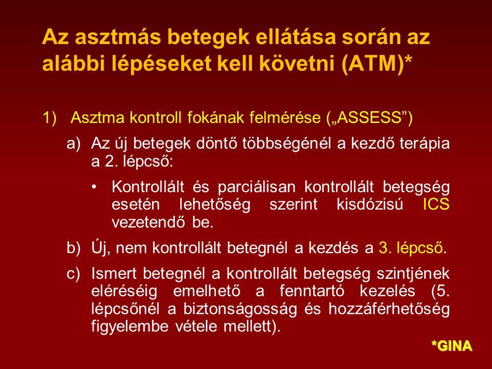 """Az asztmás betegek ellátása során az alábbi lépéseket kell követni (ATM)* 1)Asztma kontroll fokának felmérése (""""ASSESS ) a)Az új betegek döntő többségénél a kezdő terápia a 2."""