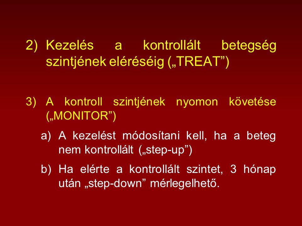 """2)Kezelés a kontrollált betegség szintjének eléréséig (""""TREAT ) 3)A kontroll szintjének nyomon követése (""""MONITOR ) a)A kezelést módosítani kell, ha a beteg nem kontrollált (""""step-up ) b)Ha elérte a kontrollált szintet, 3 hónap után """"step-down mérlegelhető."""