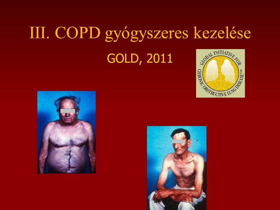 III. COPD gyógyszeres kezelése GOLD, 2011
