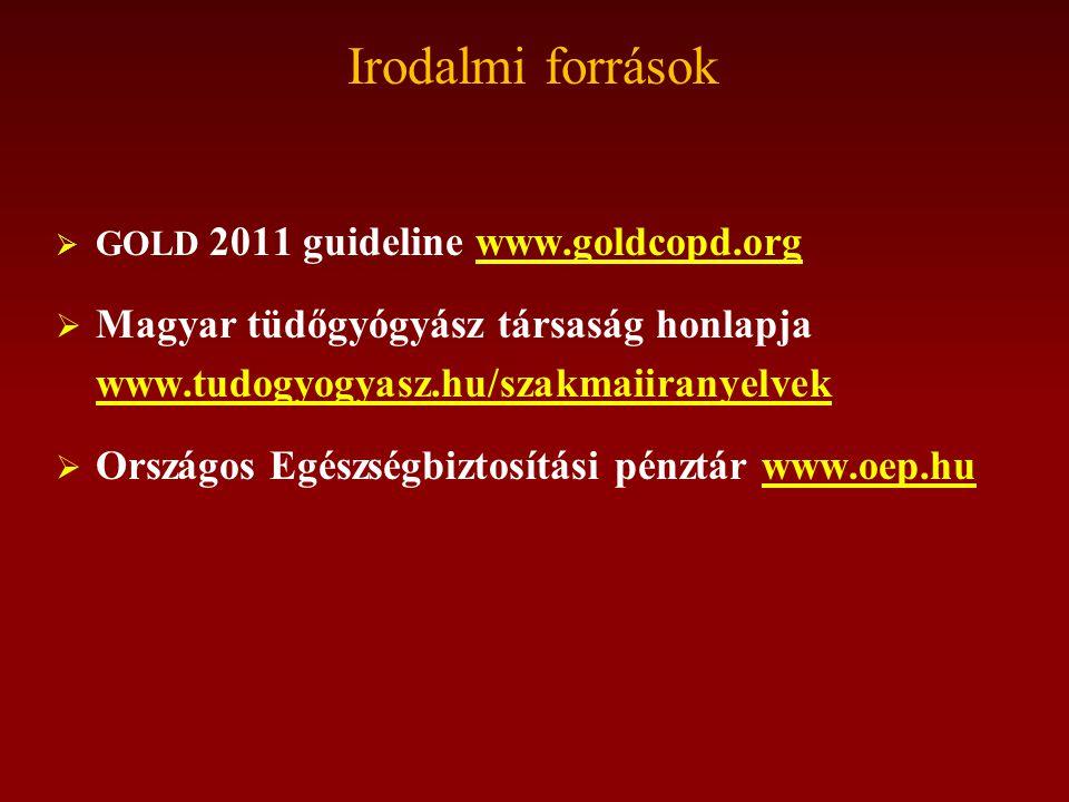 Irodalmi források  GOLD 2011 guideline www.goldcopd.orgwww.goldcopd.org  Magyar tüdőgyógyász társaság honlapja www.tudogyogyasz.hu/szakmaiiranyelvek www.tudogyogyasz.hu/szakmaiiranyelvek  Országos Egészségbiztosítási pénztár www.oep.huwww.oep.hu