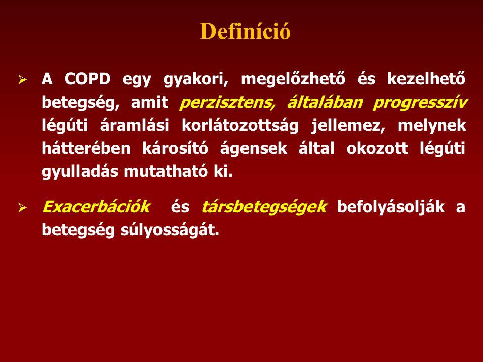  A COPD egy gyakori, megelőzhető és kezelhető betegség, amit perzisztens, általában progresszív légúti áramlási korlátozottság jellemez, melynek hátterében károsító ágensek által okozott légúti gyulladás mutatható ki.
