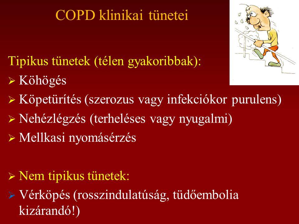 COPD klinikai tünetei Tipikus tünetek (télen gyakoribbak):  Köhögés  Köpetürítés (szerozus vagy infekciókor purulens)  Nehézlégzés (terheléses vagy nyugalmi)  Mellkasi nyomásérzés  Nem tipikus tünetek:  Vérköpés (rosszindulatúság, tüdőembolia kizárandó!)