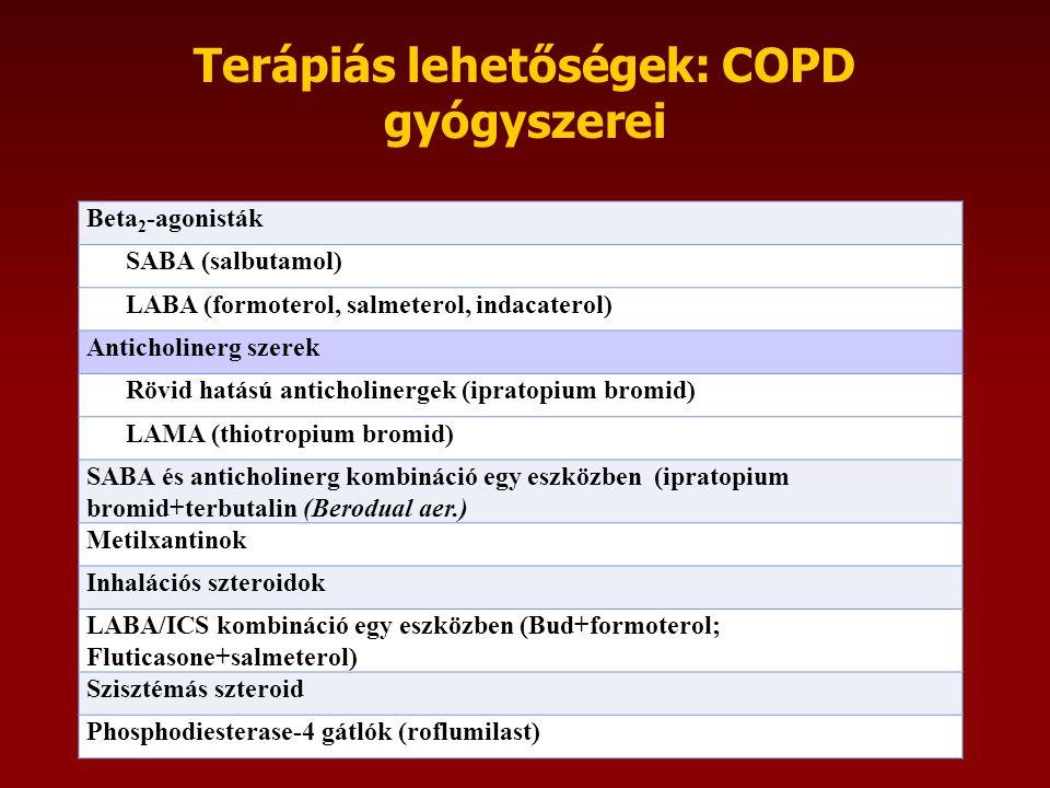 Terápiás lehetőségek: COPD gyógyszerei Beta 2 -agonisták SABA (salbutamol) LABA (formoterol, salmeterol, indacaterol) Anticholinerg szerek Rövid hatású anticholinergek (ipratopium bromid) LAMA (thiotropium bromid) SABA és anticholinerg kombináció egy eszközben (ipratopium bromid+terbutalin (Berodual aer.) Metilxantinok Inhalációs szteroidok LABA/ICS kombináció egy eszközben (Bud+formoterol; Fluticasone+salmeterol) Szisztémás szteroid Phosphodiesterase-4 gátlók (roflumilast)