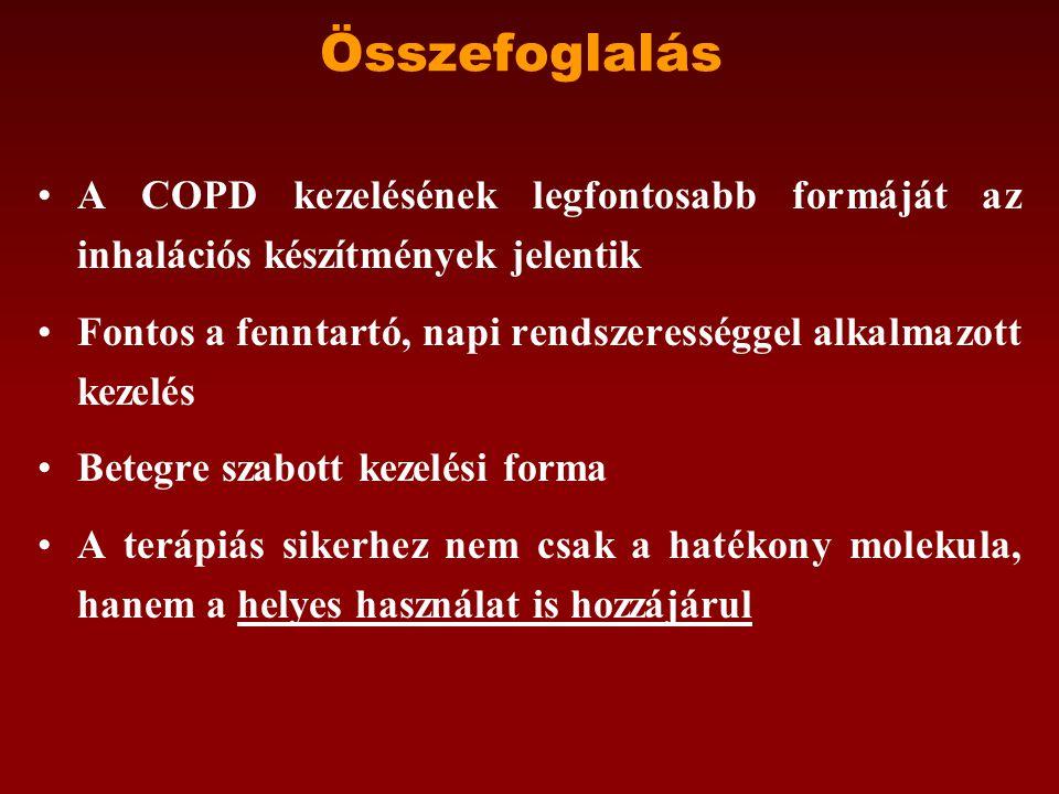 Összefoglalás •A COPD kezelésének legfontosabb formáját az inhalációs készítmények jelentik •Fontos a fenntartó, napi rendszerességgel alkalmazott kezelés •Betegre szabott kezelési forma •A terápiás sikerhez nem csak a hatékony molekula, hanem a helyes használat is hozzájárul
