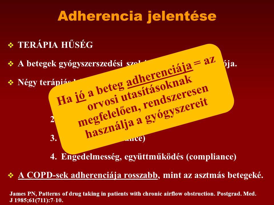 Adherencia jelentése  TERÁPIA HŰSÉG  A betegek gyógyszerszedési szokásainak egyik mutatója.