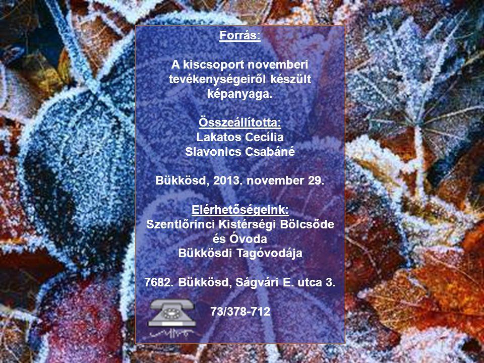 Forrás: A kiscsoport novemberi tevékenységeiről készült képanyaga. Összeállította: Lakatos Cecília Slavonics Csabáné Bükkösd, 2013. november 29. Elérh