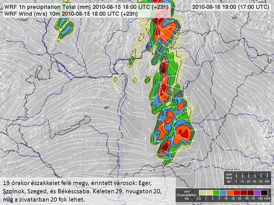19 órakor északkelet felé megy, érintett városok: Eger, Szolnok, Szeged, és Békéscsaba. Keleten 29, nyugaton 20, míg a zivatarban 20 fok lehet.