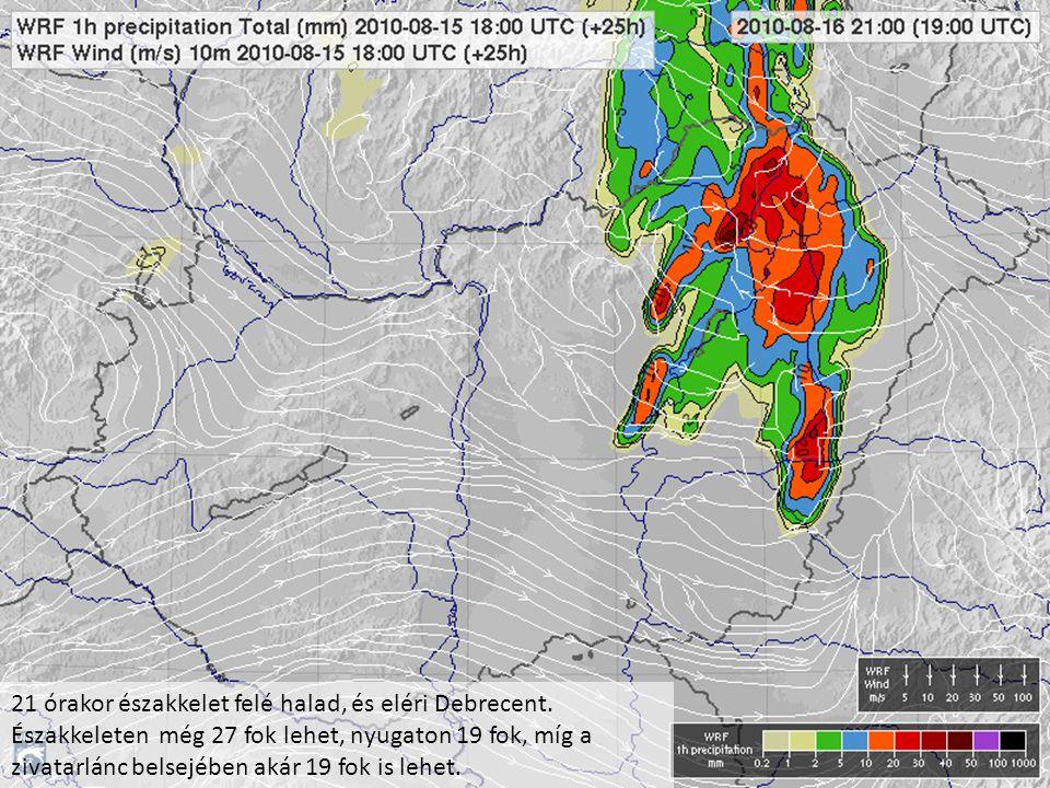 21 órakor északkelet felé halad, és eléri Debrecent. Északkeleten még 27 fok lehet, nyugaton 19 fok, míg a zivatarlánc belsejében akár 19 fok is lehet