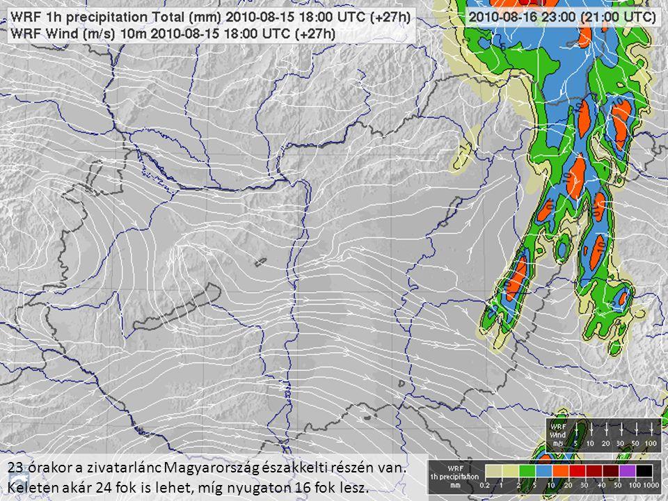 23 órakor a zivatarlánc Magyarország északkelti részén van. Keleten akár 24 fok is lehet, míg nyugaton 16 fok lesz.