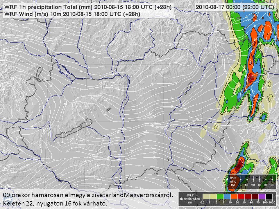 00 órakor hamarosan elmegy a zivatarlánc Magyarországról. Keleten 22, nyugaton 16 fok várható.