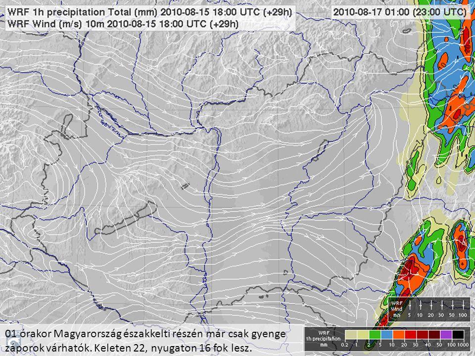 01 órakor Magyarország északkelti részén már csak gyenge záporok várhatók. Keleten 22, nyugaton 16 fok lesz.