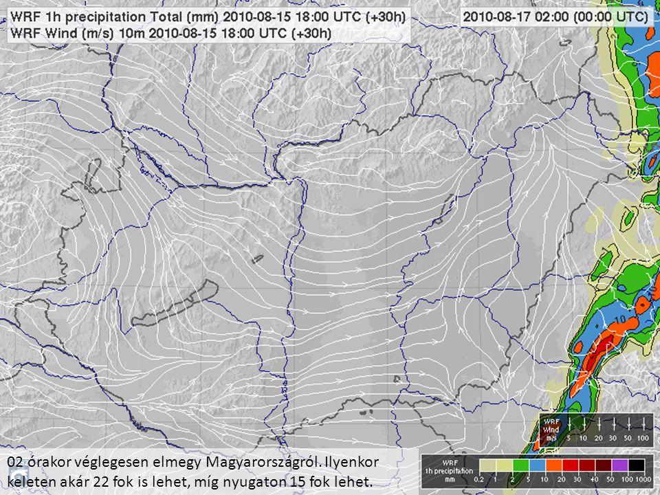 02 órakor véglegesen elmegy Magyarországról. Ilyenkor keleten akár 22 fok is lehet, míg nyugaton 15 fok lehet.