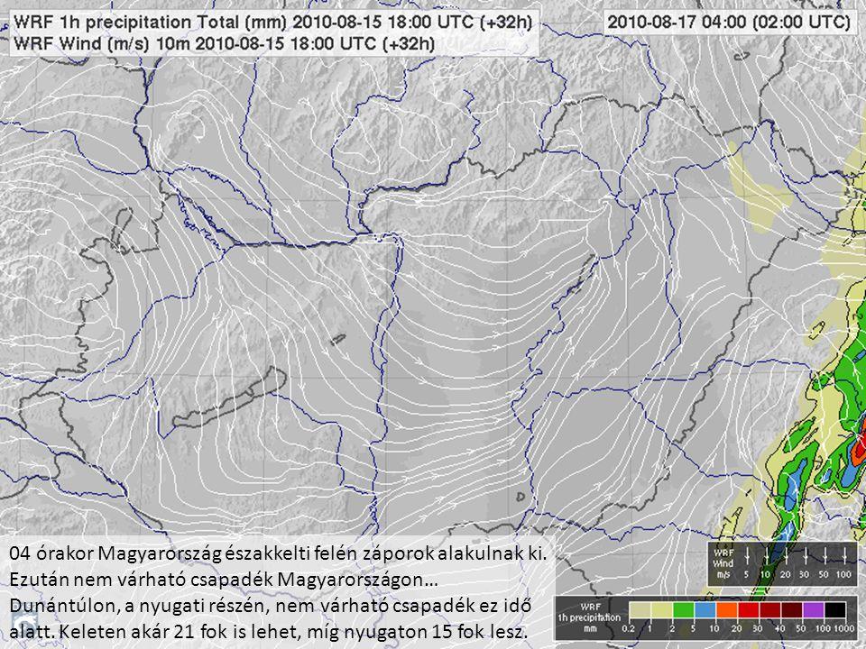 04 órakor Magyarország északkelti felén záporok alakulnak ki. Ezután nem várható csapadék Magyarországon… Dunántúlon, a nyugati részén, nem várható cs