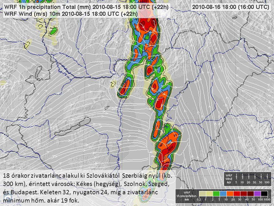 18 órakor zivatarlánc alakul ki Szlovákiától Szerbiáig nyúl (kb. 300 km), érintett városok: Kékes (hegység), Szolnok, Szeged, és Budapest. Keleten 32,
