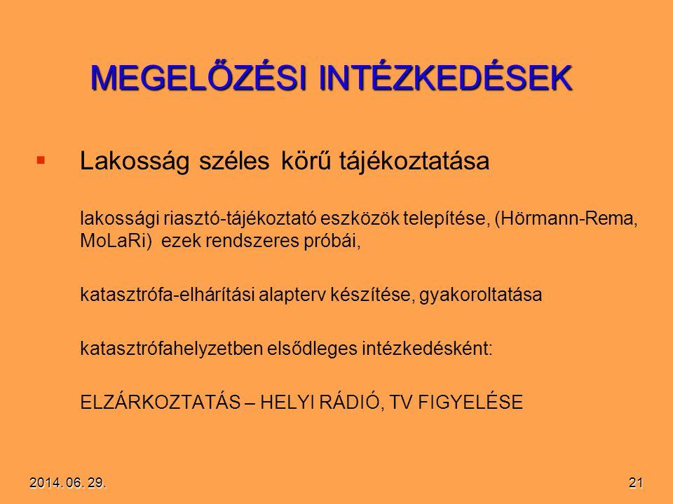 2014. 06. 29.2014. 06. 29.2014. 06. 29.21 MEGELŐZÉSI INTÉZKEDÉSEK   Lakosság széles körű tájékoztatása lakossági riasztó-tájékoztató eszközök telepí