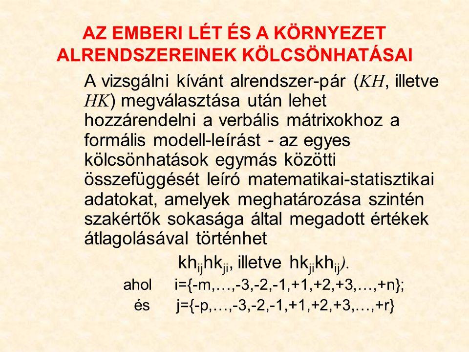 A vizsgálni kívánt alrendszer-pár ( KH, illetve HK ) megválasztása után lehet hozzárendelni a verbális mátrixokhoz a formális modell-leírást - az egyes kölcsönhatások egymás közötti összefüggését leíró matematikai-statisztikai adatokat, amelyek meghatározása szintén szakértők sokasága által megadott értékek átlagolásával történhet kh ij hk ji, illetve hk ji kh ij ).