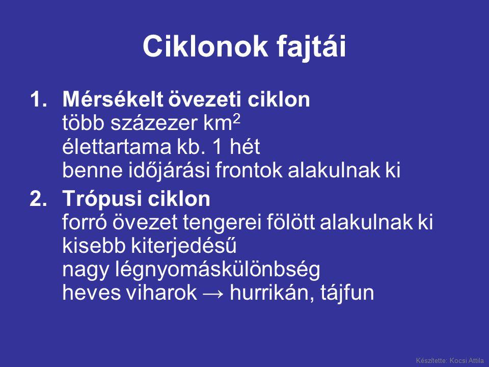 Készítette: Kocsi Attila Ciklonok fajtái 1.Mérsékelt övezeti ciklon több százezer km 2 élettartama kb. 1 hét benne időjárási frontok alakulnak ki 2.Tr