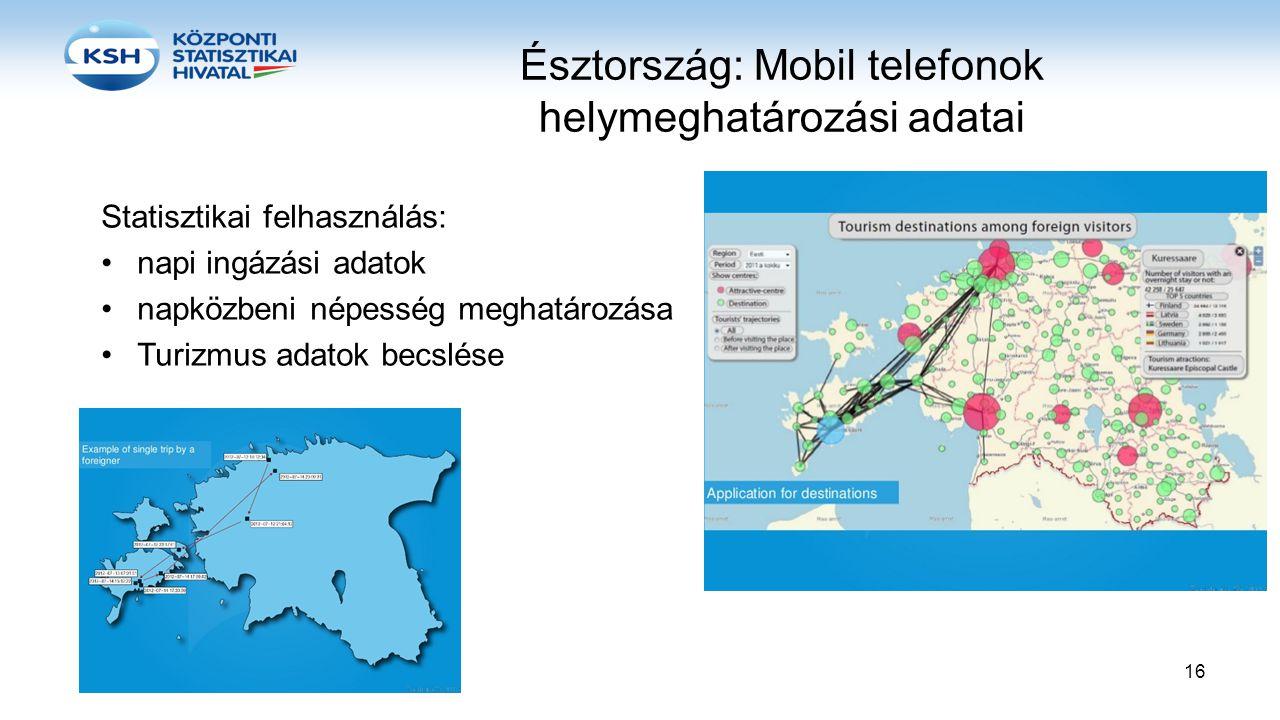 Észtország: Mobil telefonok helymeghatározási adatai Statisztikai felhasználás: •napi ingázási adatok •napközbeni népesség meghatározása •Turizmus ada