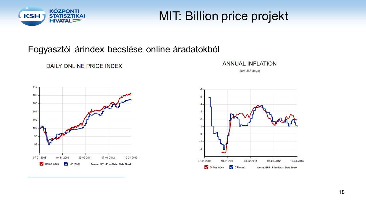 MIT: Billion price projekt Fogyasztói árindex becslése online áradatokból http://bpp.mit.edu/usa/ http://www.pricestats.com/us-series 18
