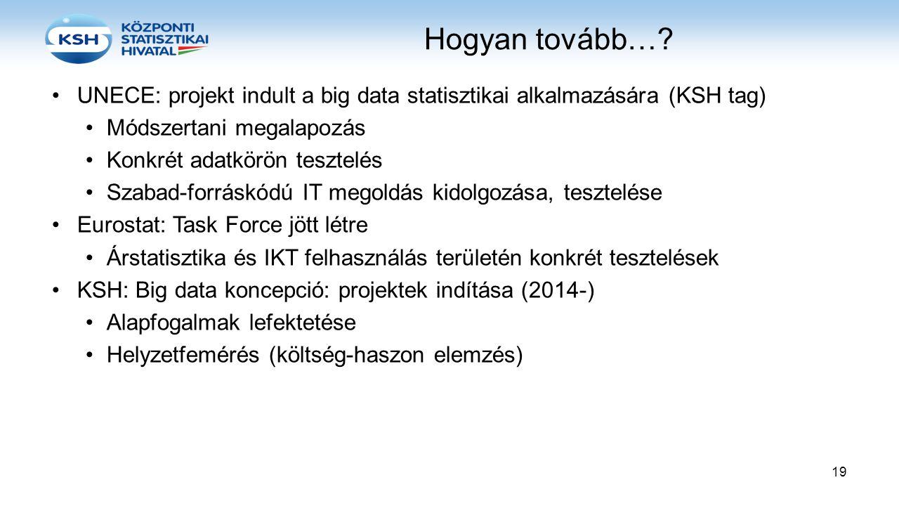 Hogyan tovább…? •UNECE: projekt indult a big data statisztikai alkalmazására (KSH tag) •Módszertani megalapozás •Konkrét adatkörön tesztelés •Szabad-f