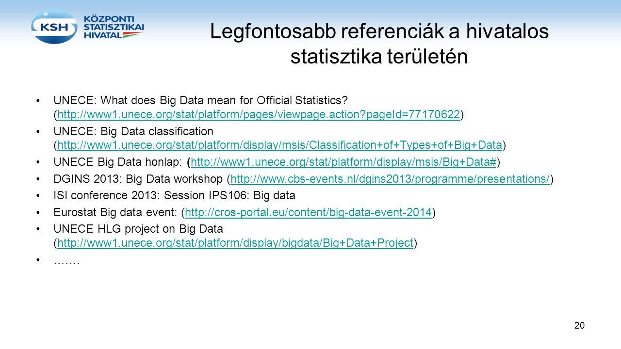 Legfontosabb referenciák a hivatalos statisztika területén •UNECE: What does Big Data mean for Official Statistics? (http://www1.unece.org/stat/platfo