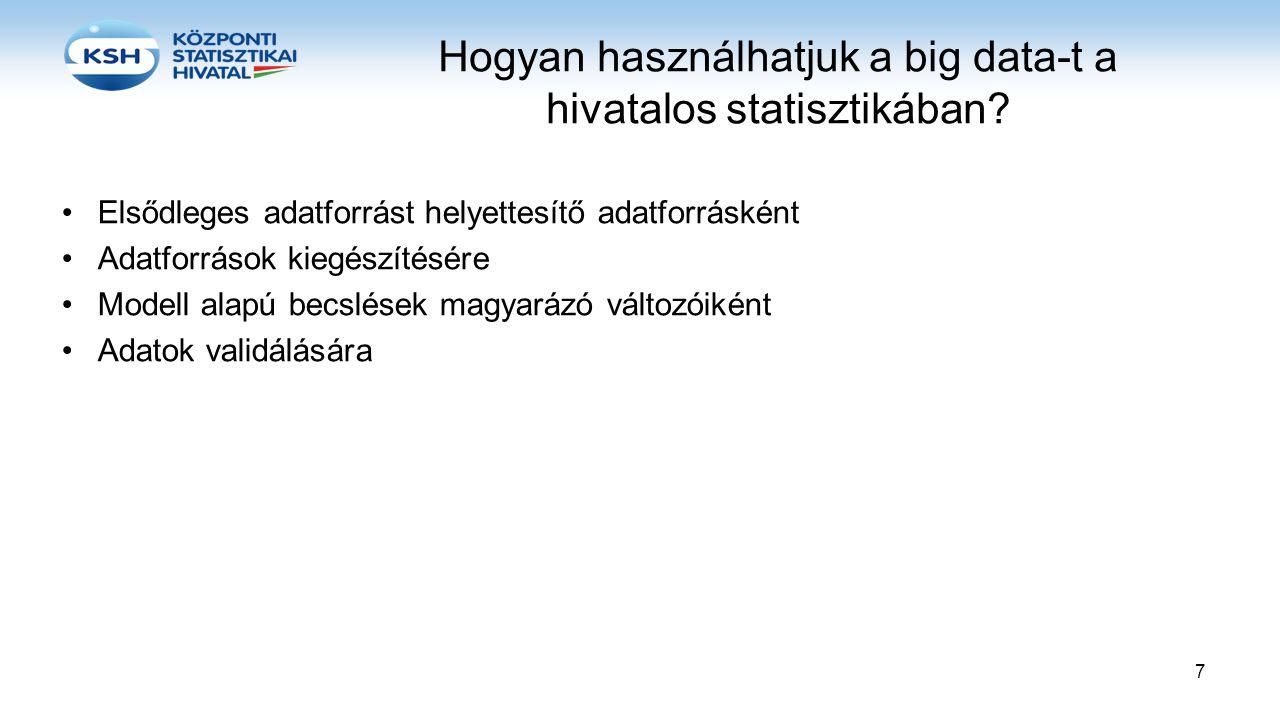 Hogyan használhatjuk a big data-t a hivatalos statisztikában? •Elsődleges adatforrást helyettesítő adatforrásként •Adatforrások kiegészítésére •Modell