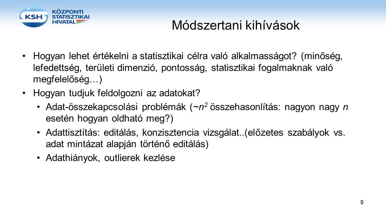 Módszertani kihívások •Hogyan lehet értékelni a statisztikai célra való alkalmasságot? (minőség, lefedettség, területi dimenzió, pontosság, statisztik