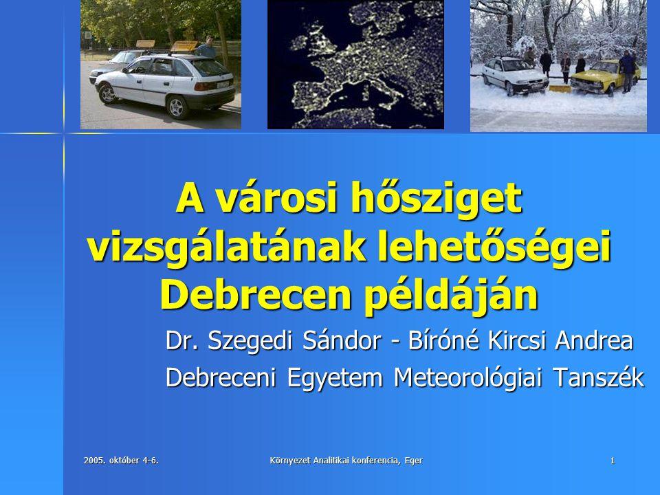 2005. október 4-6. Környezet Analitikai konferencia, Eger 1 A városi hősziget vizsgálatának lehetőségei Debrecen példáján Dr. Szegedi Sándor - Bíróné