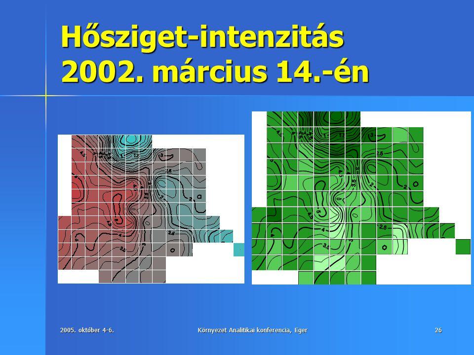 2005. október 4-6.Környezet Analitikai konferencia, Eger26 Hősziget-intenzitás 2002. március 14.-én