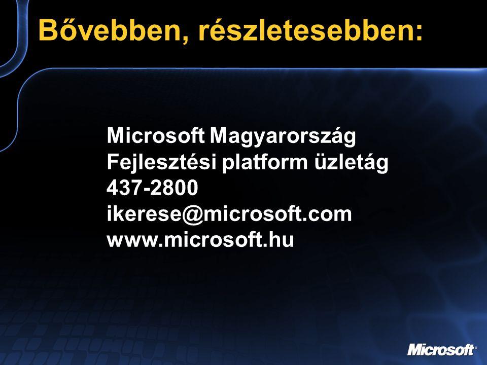 Bővebben, részletesebben: Microsoft Magyarország Fejlesztési platform üzletág 437-2800 ikerese@microsoft.com www.microsoft.hu