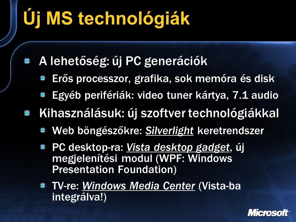 Új MS technológiák A lehetőség: új PC generációk Erős processzor, grafika, sok memóra és disk Egyéb perifériák: video tuner kártya, 7.1 audio Kihasználásuk: új szoftver technológiákkal Web böngészőkre: Silverlight keretrendszer PC desktop-ra: Vista desktop gadget, új megjelenítési modul (WPF: Windows Presentation Foundation) TV-re: Windows Media Center (Vista-ba integrálva!)