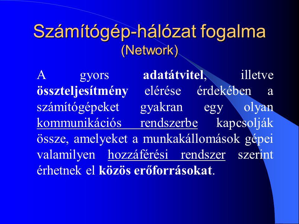 Számítógép-hálózat fogalma (Network) A gyors adatátvitel, illetve összteljesítmény elérése érdekében a számítógépeket gyakran egy olyan kommunikációs