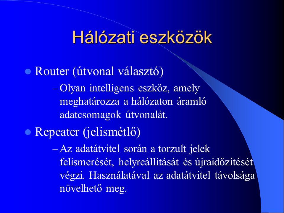 Hálózati eszközök  Router (útvonal választó) – Olyan intelligens eszköz, amely meghatározza a hálózaton áramló adatcsomagok útvonalát.  Repeater (je