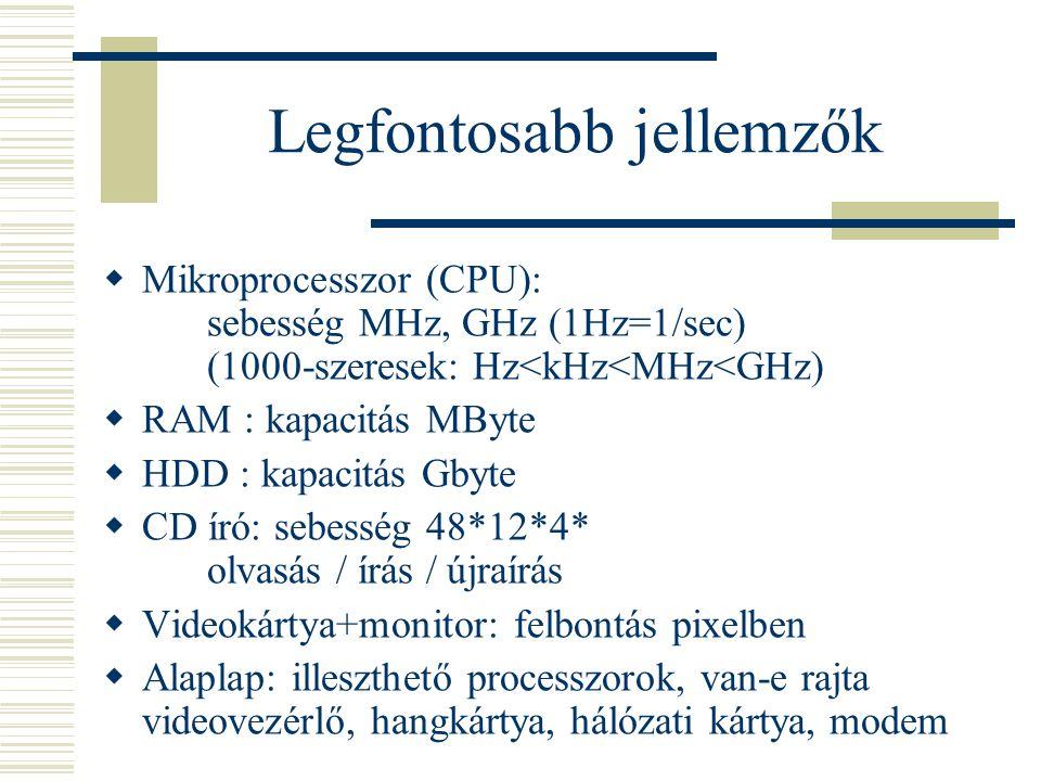 Legfontosabb jellemzők  Mikroprocesszor (CPU): sebesség MHz, GHz (1Hz=1/sec) (1000-szeresek: Hz<kHz<MHz<GHz)  RAM : kapacitás MByte  HDD : kapacitá