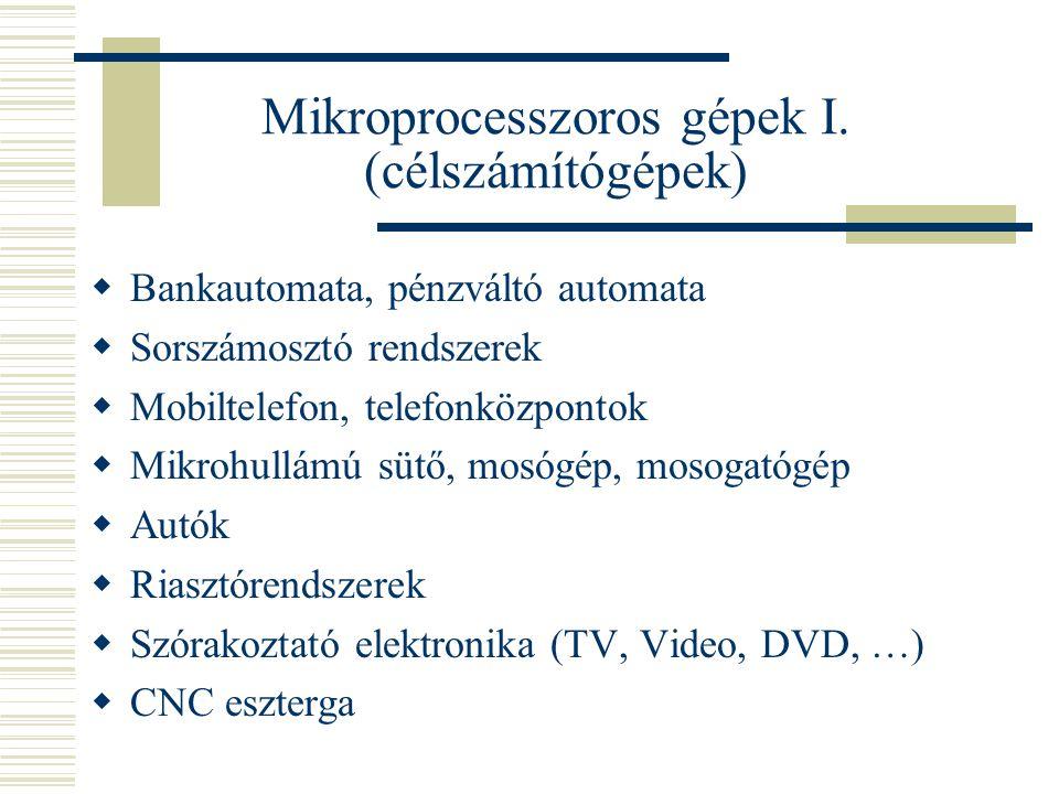Mikroprocesszoros gépek I. (célszámítógépek)  Bankautomata, pénzváltó automata  Sorszámosztó rendszerek  Mobiltelefon, telefonközpontok  Mikrohull