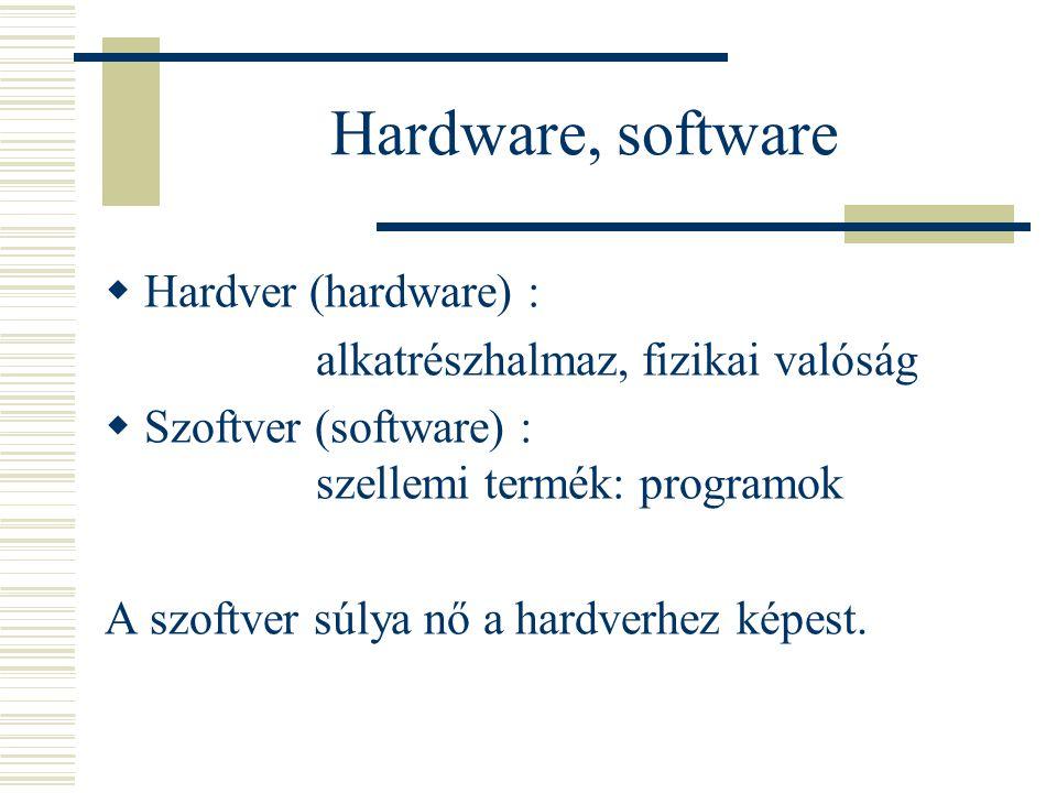 Hardware, software  Hardver (hardware) : alkatrészhalmaz, fizikai valóság  Szoftver (software) : szellemi termék: programok A szoftver súlya nő a ha
