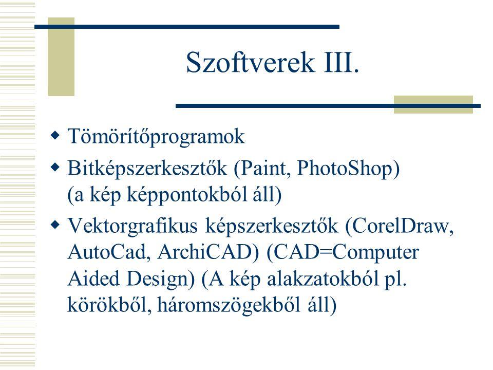 Szoftverek III.  Tömörítőprogramok  Bitképszerkesztők (Paint, PhotoShop) (a kép képpontokból áll)  Vektorgrafikus képszerkesztők (CorelDraw, AutoCa