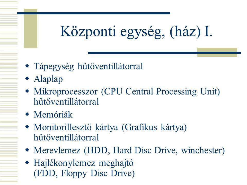 Központi egység, (ház) I.  Tápegység hűtőventillátorral  Alaplap  Mikroprocesszor (CPU Central Processing Unit) hűtőventillátorral  Memóriák  Mon