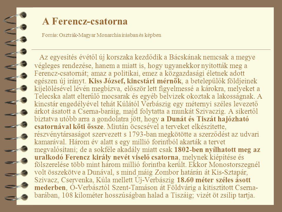 Az egyesítés évétől új korszaka kezdődik a Bácskának nemcsak a megye végleges rendezése, hanem a miatt is, hogy ugyanekkor nyitották meg a Ferencz-csatornát; amaz a politikai, emez a közgazdasági életnek adott egészen új irányt.