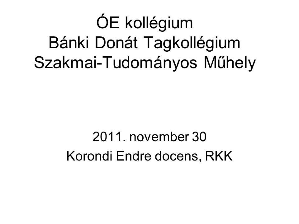 ÓE kollégium Bánki Donát Tagkollégium Szakmai-Tudományos Műhely 2011.