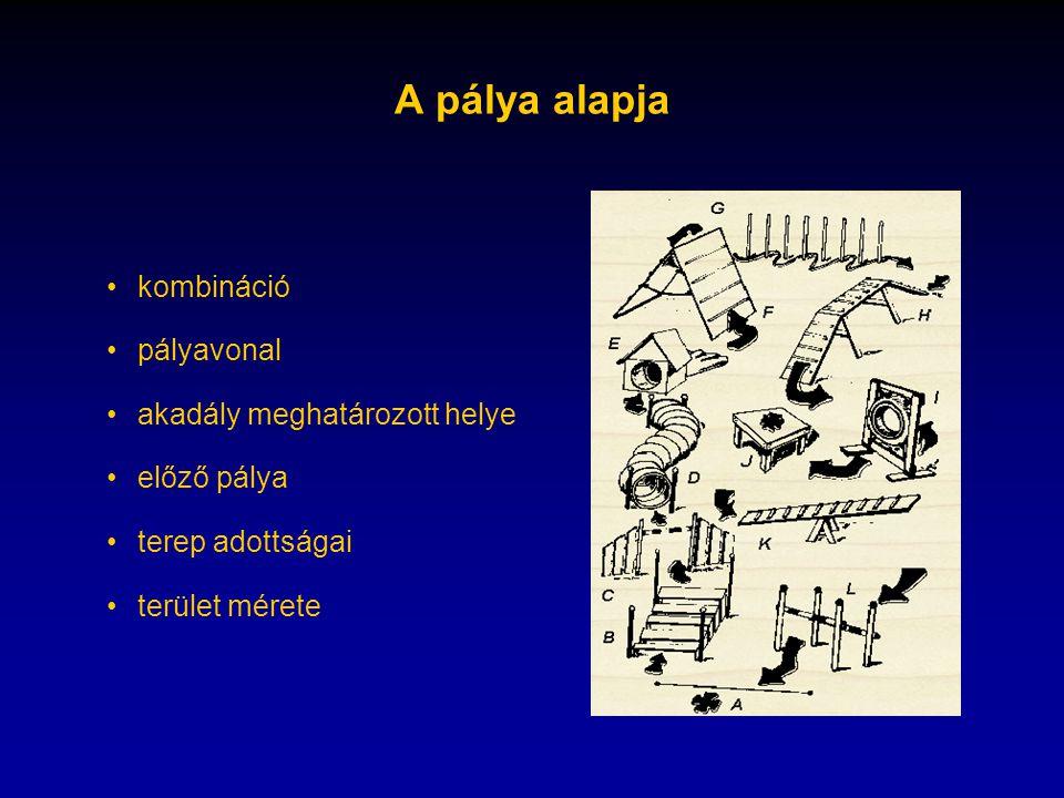 A pálya alapja •kombináció •pályavonal •akadály meghatározott helye •előző pálya •terep adottságai •terület mérete
