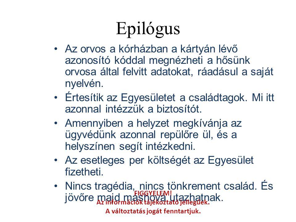 Epilógus •Az orvos a kórházban a kártyán lévő azonosító kóddal megnézheti a hősünk orvosa által felvitt adatokat, ráadásul a saját nyelvén. •Értesítik