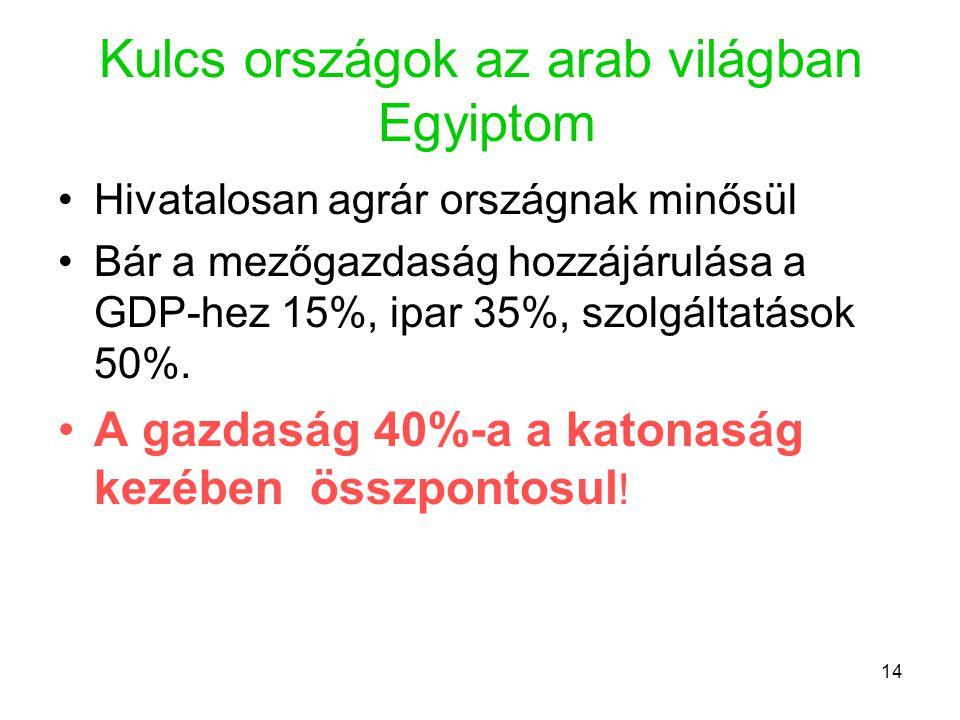 14 Kulcs országok az arab világban Egyiptom •Hivatalosan agrár országnak minősül •Bár a mezőgazdaság hozzájárulása a GDP-hez 15%, ipar 35%, szolgáltatások 50%.